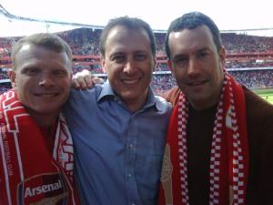 Brian Sullivan, Todd Coleman and Mark Noonan enjoy their Arsenal weekend.