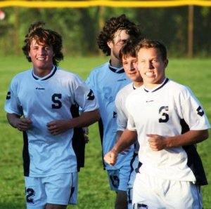 Preston Hirten (right) was intense even warming up.