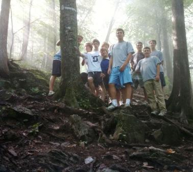 Midway up Mt. Philo, quad-captain Alan Reiter (looking huge) assembled his team for a photo.