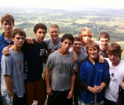 Atop Mt. Philo, overlooking the Champlain valley (from left): Michael McCarthy, Steven Denowitz, Mikey Fitzgerald, Brendan Lesch, Mike White, Mikey Scott, Luke Yeager, Andrew McNair, Sean Gallagher, Jake Krosse.
