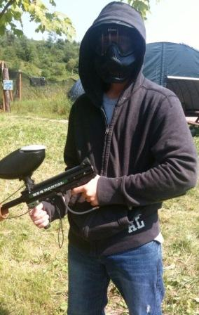 The masked paintball man is Luke Yeager.