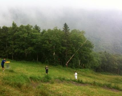 Moments after this photo on the Mt. Sugarbush disc golf course, the rains rolled in.