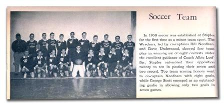 The first Staples soccer team -- from the 1958 yearbook