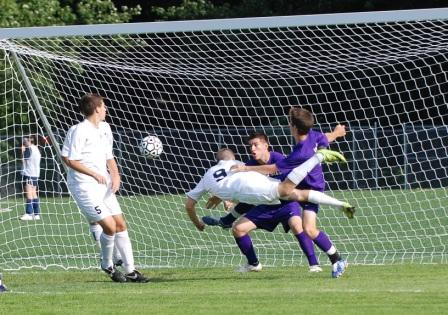 Hard to believe, but Brendan Lesch's diving header was cleared off the line by a Viking defender.  (Photo by Lisa Krosse)