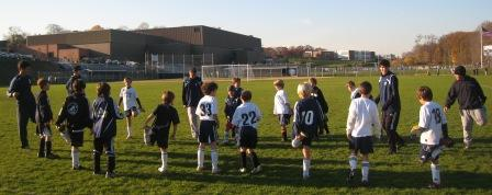 Staples boys soccer and U-9 players