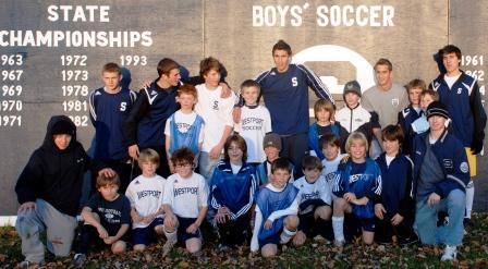Staples boys soccer team and U-10 WSA squad
