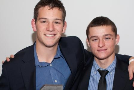 "Block ""S"" winners Tom Greenwald and Greg Shikowitz pose proudly at the banquet. (Photo by Carl McNair)"