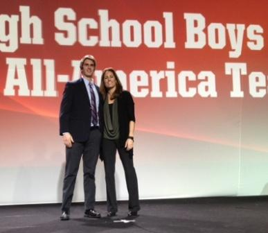 James Hickok and Julie Foudy, at the All-America banquet.