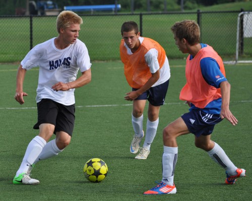 Andrew Puchala, Foster Goldberg and Andreas Bru at 2012 tryouts. They're a year older, more experienced, tougher and smarter. (Photo by Carl McNair)