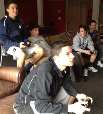 George Kokkalis (front) gets into today's Octathlon FIFA challenge, at Sterling Price's house. Behind him are (from left) Diego Alanis, Sterling Price, Charlie Leonard and Bobby Jacowleff.