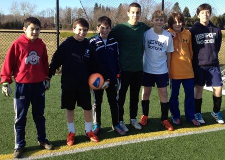 Staples keeper Noah Schwaeber (center) trained the next generation of Staples goalkeepers.