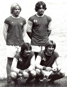 Four Murphy brothers played for Westport's famed U-23 Bridge Grille team. Kneeling  (from left): Dennis and Ken. Standing: Kevin and Ed.