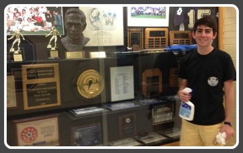 Robby Giannone, and the newly cleaned trophy case.