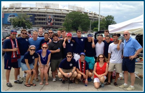 The Hirten family, and Staples and Mary Washington friends, at the US-Germany match.