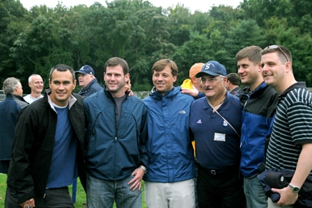 At the 50th Staples soccer celebration in 2008, alumni from the 1990s got together. It's time to verify their data again. From left: Zack Randel, David Nayor, Alex Deegan, former coach Jeff lea, Andrew Clement, Tim Caffrey.
