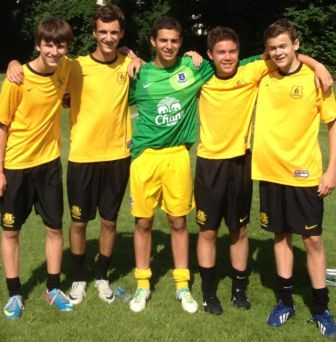 Staples players on Everton U-15 (from left): Aidan Wisher, James Lewis, Noah Schwaeber, Kenji Goto and Graham Gudis.